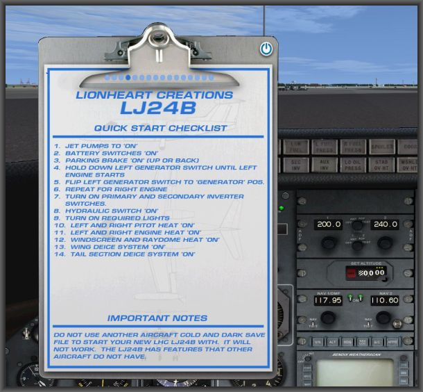 Learjet 24b - Checkliste