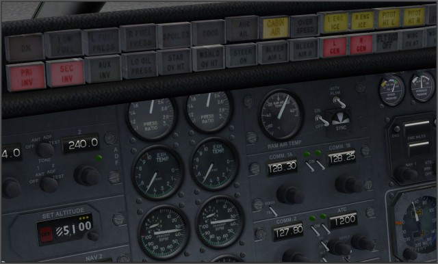 Learjet 24b - Warntableau